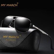 MYMARCH Brand Designer Aluminum Mens Polarized Sunglasses Vintage Square Alloy Sun Glasses Eyewear UV400 Protection Oculos