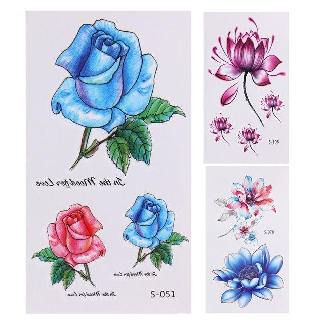 10 Sheets Flowers Temporary Tattoo Stickers Waterproof Body Art Decoration Temporary Flower Design Tattoo Stickers