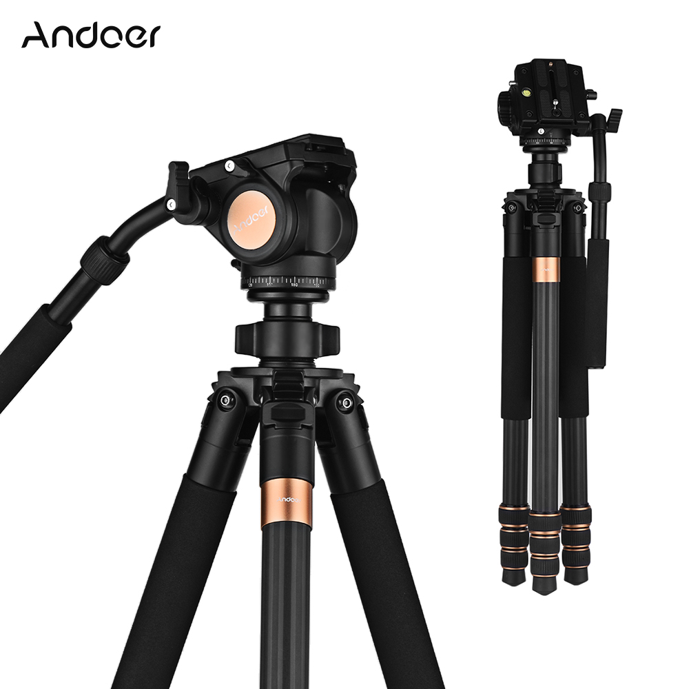 Professional Andoer 69inch Carbon Fiber Video Camera Tripod with Fluid Drag Head for Canon Nikon Sony