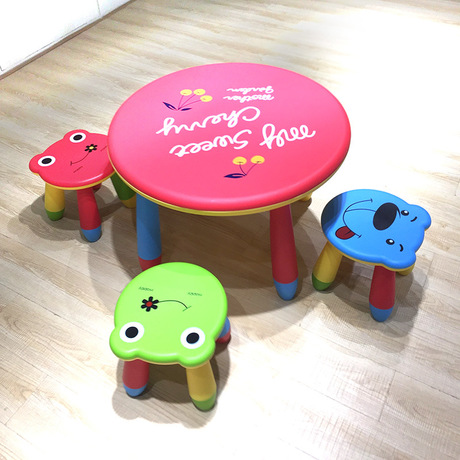 Us 183 99 8 Off Children Furniture Sets Plastic Kids Table Stools Set 1 4 Embly Round Study Desk New In