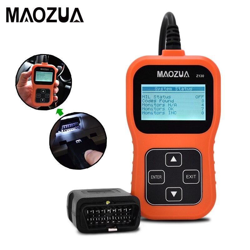 Maozua Z130 OBD2 OBD escáner automotriz herramienta de diagnóstico de coche lector de código automático herramienta de escaneo mejor que AD310 ELM327 OM123 Coche Mini portátil ELM327 V2.1 OBD2 II Bluetooth diagnóstico coche Auto interfaz escáner azul Premium ABS herramienta de diagnóstico