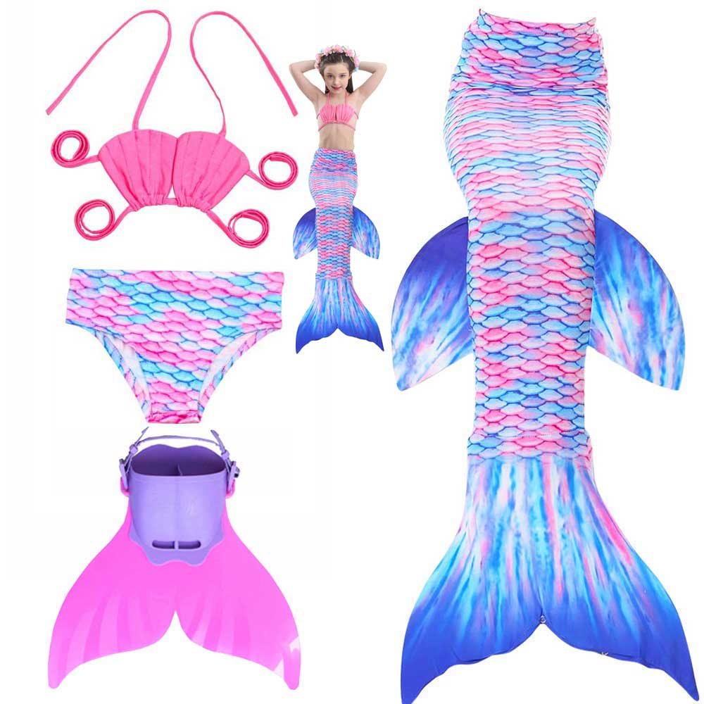 Girs Mermaid Tail Swimsuit Costume For Beach And Party Kids Children Swimmable Mermaid Tails Sparkle Monofin Cosplay