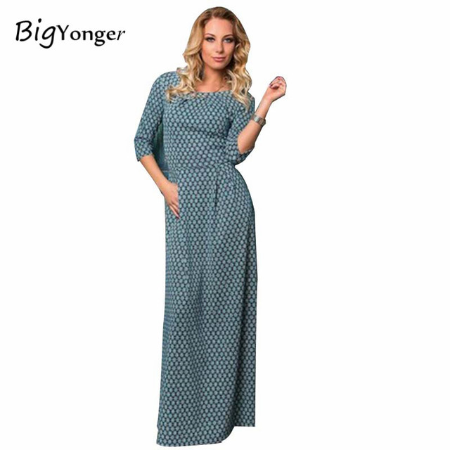Fashion hot sale new style 2017 sexy half sleeve O-neck floor-length print casual women lady girl young female dress vestidos