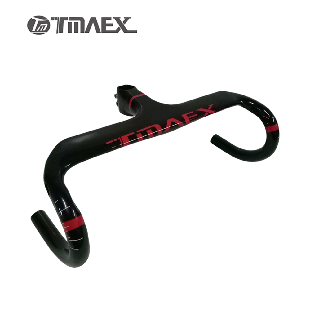 TMAEX Red Carbon Handlebar Integrated Carbon Internal Road Handlebar With Stem Reach 95mm Drop 125mm Carbon Cycling Bike Parts carbon drop handle bars road bike handlebar matt or gloss black 31 8 420mm