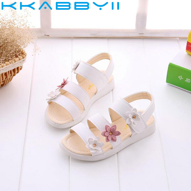 New Summer Children Sandals For Girls Soft Leather Flowers Princess Girl Shoes Kids Beach Sandal Baby Toddler Shoe