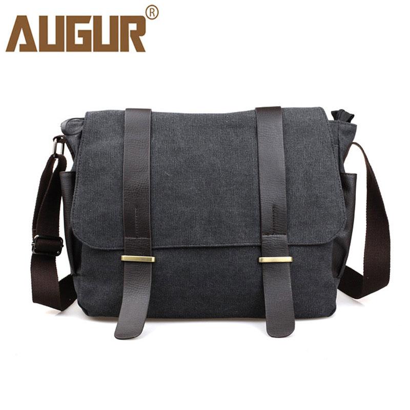 все цены на AUGUR New Fashion Canvas Leather Shoulder Bag Men Business Messenger Bag Casual Men's Crossbody Travel Bags Sac A Main онлайн