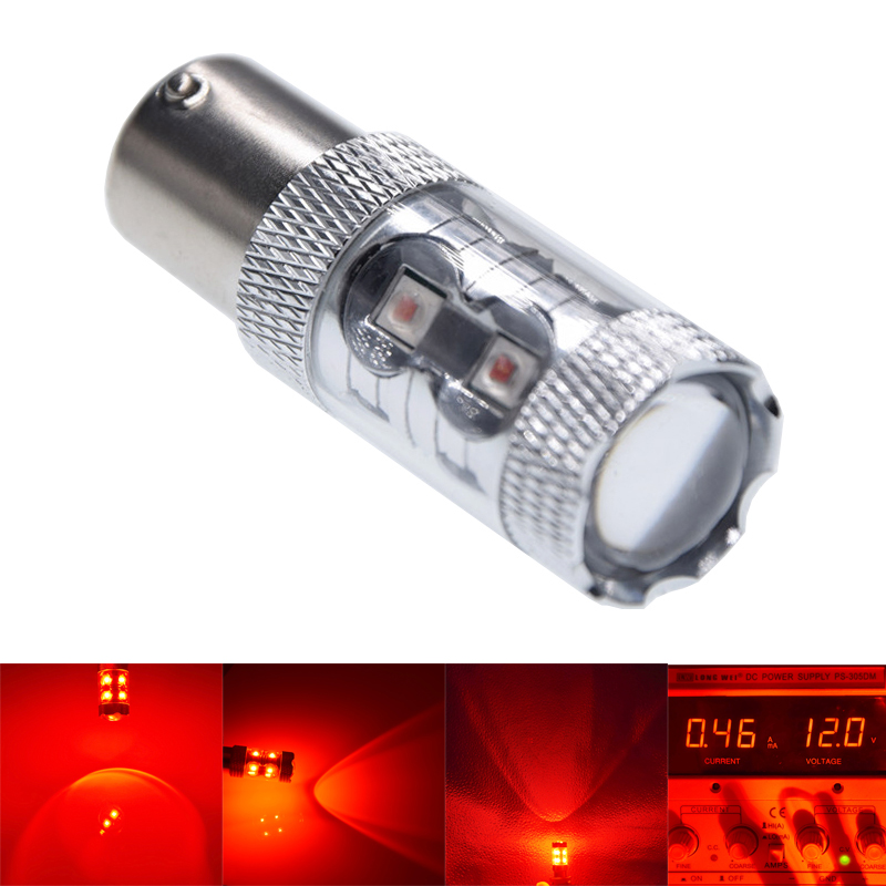 1Pcs S25 1157 BAY15D P21/5W LED Bulbs High Power XBD 60W Canbus Car Brake Light Reverse Lamp 12V 24V Auto Tail Bulb RED