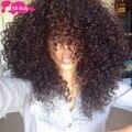 Venda quente 7A cabelos Cacheados Crespo Mongol com fechamento 4 feixes de 100% Cabelo Humano da Rainha Produtos para Cabelo Mongolian Kinky Curly cabelo