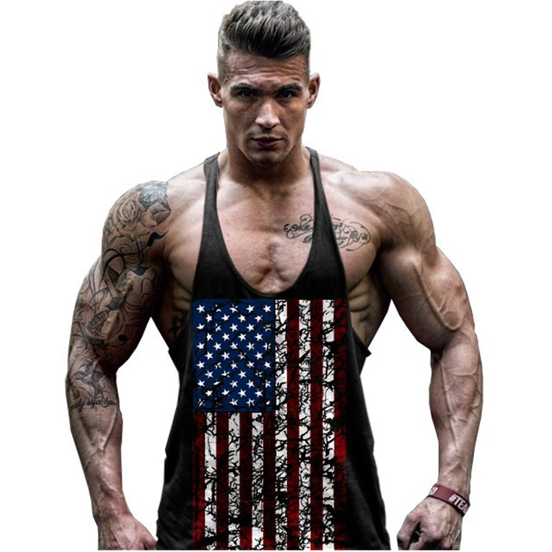 Hot Sale Men's American Flag Design Stringer Singlets Cotton Gyms Tank Tops Muscular Fitness Bodybuilding Tank Top Skull Vest