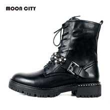 2019 Fashion Autumn & Winter Causal Mid Calf Boots For Women Motorcycle boots Femme Leather Lace-up Booties Black Women's Boots