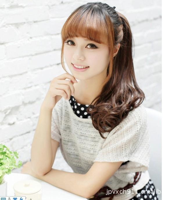 Free Shipping Wholesale Price Korean Women Lady Synthetic Long Curly
