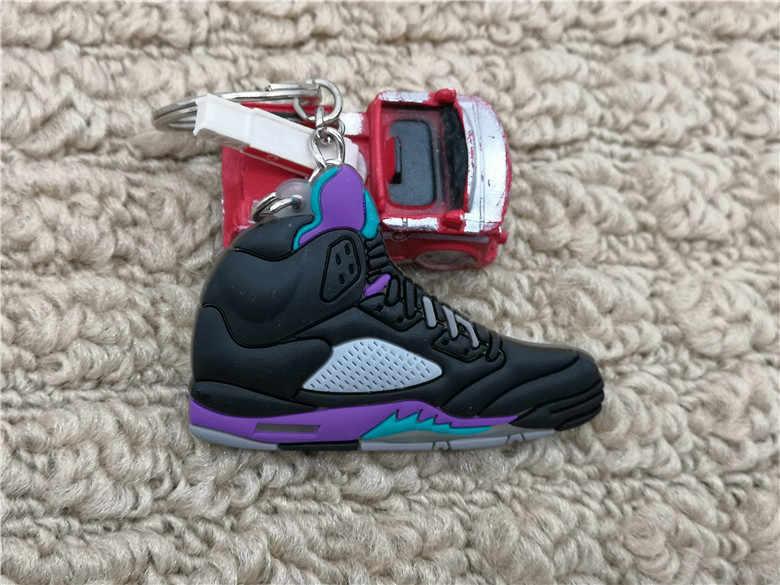 Lindo Mini silicona Jordan 5 AJ zapatos llavero bolso encanto mujer hombres niños llavero regalos accesorios zapatillas llavero colgante
