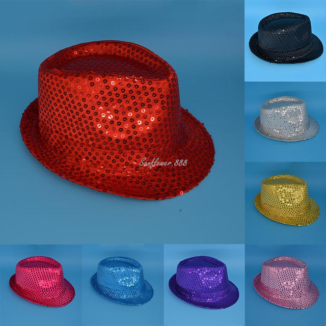 abaea7b5f7f Sequins Jazz Hat Trilby Dance Hats Cap For Wedding Dance Performance Show  for Boy Children Kids Girl Party