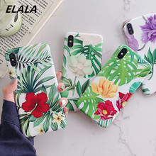 ELALA Flowers Leaf Case For iPhone XR Case Tropical Leaves Print Cover For iPhone XR X Xs Max 6s 6 7 8 Plus Cases IMD Candy Capa leaf print iphone case