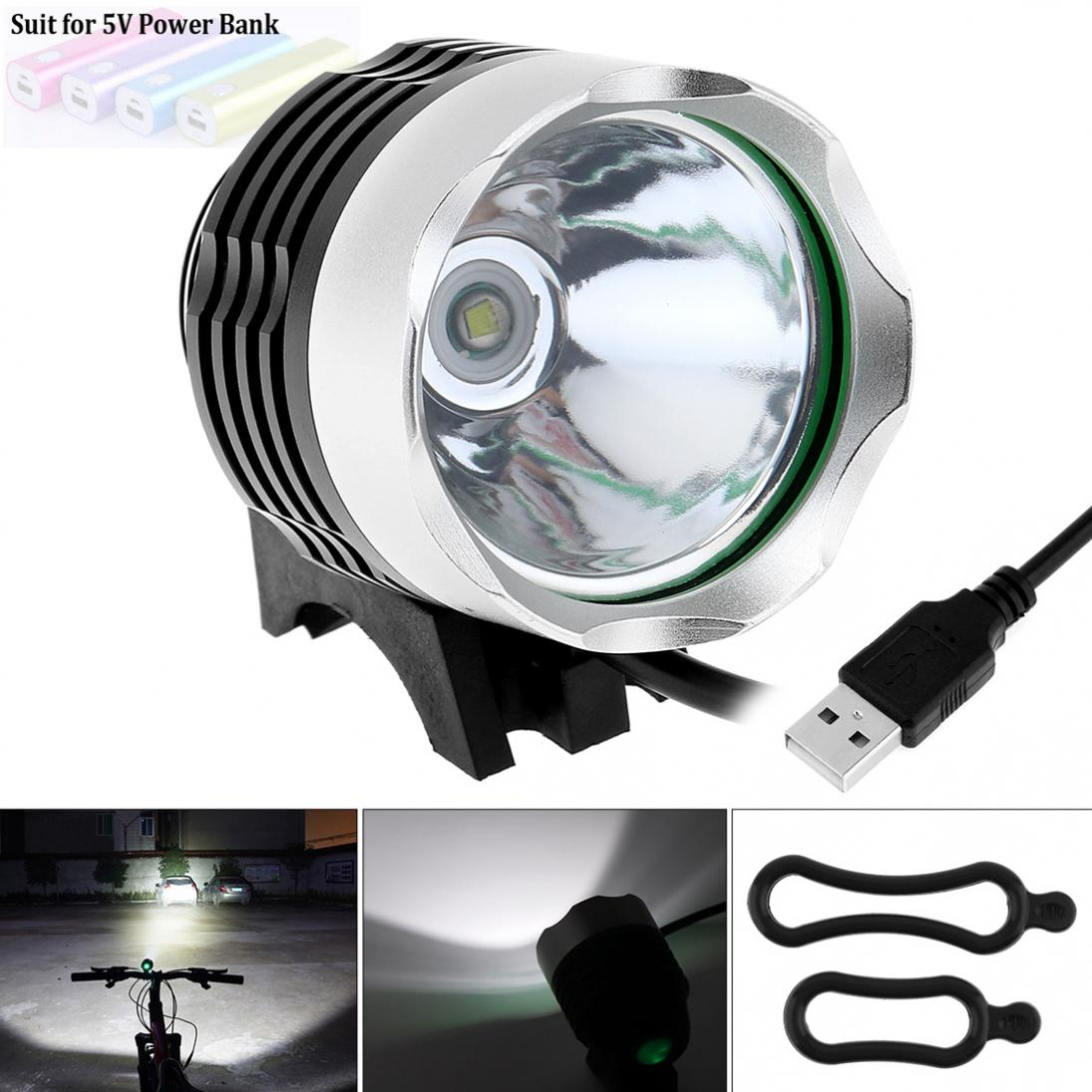 3 Modes USB-powered 500LM LED LB-XL T6LED Bike Bicycle Headlamp Light Lamp Aluminum alloy for Bicycle Sport Cycling