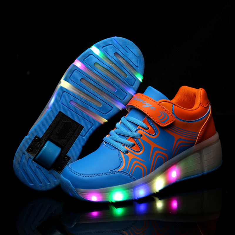 High Quality Cheap Boys Girls Glowing Sneakers with Wheels Children Kids Light Up Roller Skate Shoes tenis de rodinha reccagni angelo l 7432 3