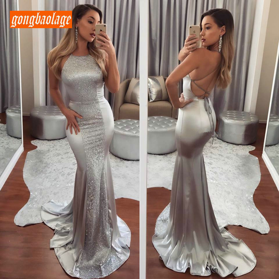 Fashion Silver Mermaid   Evening     Dresses   2019 Long   Evening   Gown Lady Scoop Elastic Satin Bling Slim Fit Sexy Women Club Prom   Dress