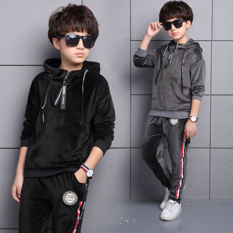 5  10 Year Boys Autumn Suits Korean Version Big Boy Velvet Hoodies + Pants Two Pieces Sets Children's Clothing-in Clothing Sets from Mother & Kids