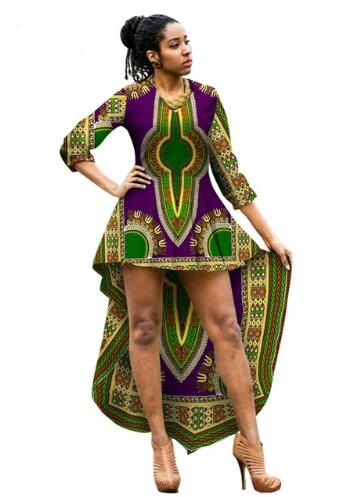 African Dresses For Women Mid Calf Ball Gown Dashiki African Print
