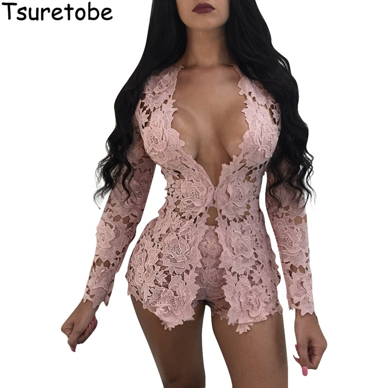 2020 New Summer Two Piece Elegant Floral Lace Playsuits Long Sleeve Hollow Out Skinny Short Sexy Jumpsuit Women Rompers Overalls