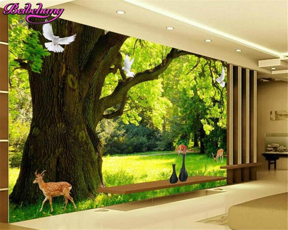 Beibehang HD Modern Minimalis Wallpaper Pemandangan Hutan 3D TV