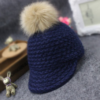 2017 Autumn Winter New Hot Children Caps For Baby Girls And Boys Woolen Knitting Feathers Ball