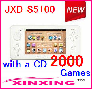 """Factory price JXD S5100 Game Deluxe Edition 5.0"""" capacitive Android 4.0 WiFi Game Console S5100 with 2000 games CD Free ship"""