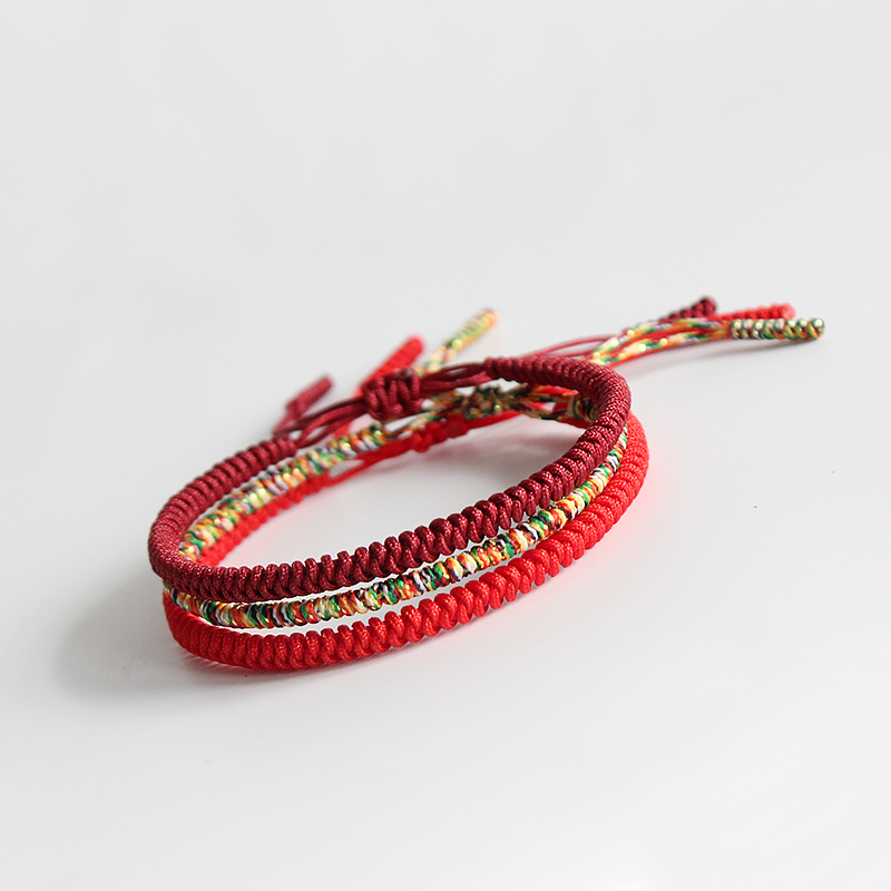 СКАЗКА Дизайн 2016 Многоцветный Тибетского Буддизма Ручной Узлы Лаки Веревка Браслет Регулируемый Размер Той Же Модели, Как Леонардо Ди Каприо