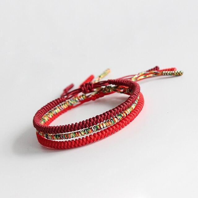 Bracelet Bouddhiste Tibetain - Rouge Et Jaune