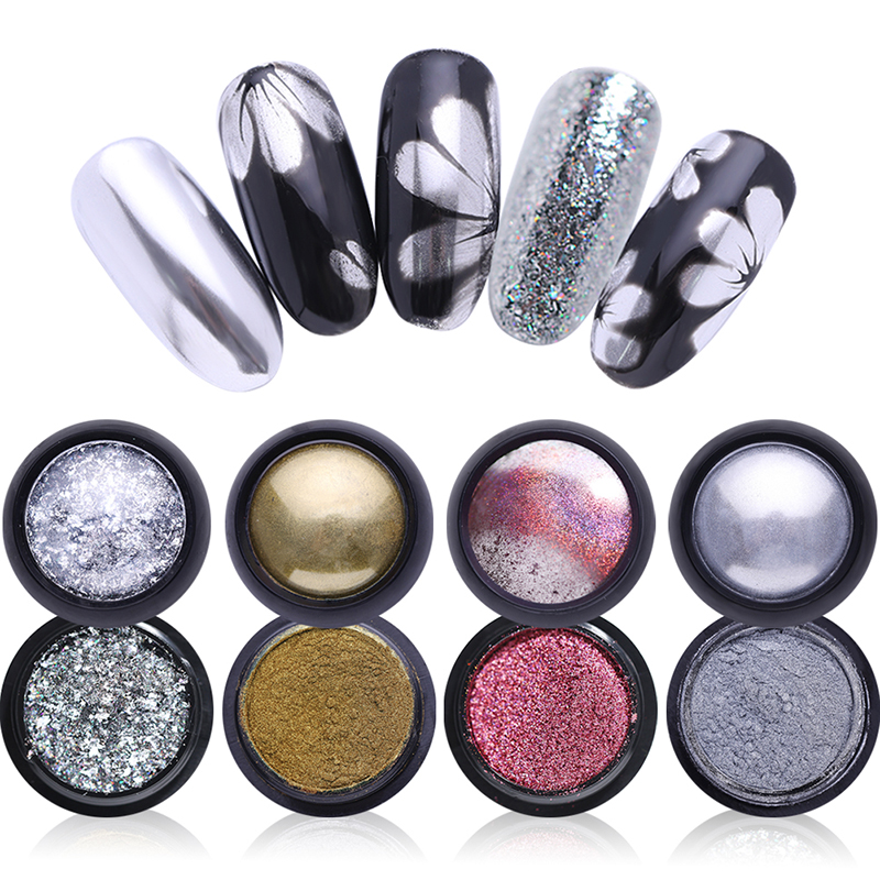 0,5g Spiegel Nagel Pulver Metallic Holographische Laser Pulver Bunte Nail Art Chrome Pigment Glitter Pulver Rheuma Und ErkäLtung Lindern Nails Art & Werkzeuge