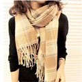 NEW Fashion Women's Lady's Large Woolen Yarn Plaid  Long Paragraph Plaid Cashmere Knitted Scarf Shawl CJ166  10Colors