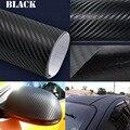 Nuevo 152*30 CM Impermeable DIY 3D Etiqueta Engomada Del Coche Car Styling Coche de Fibra de Carbono de Vinilo Envolver Con Film Negro blanco