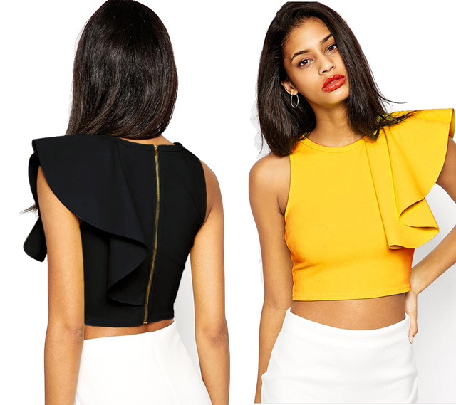 Ladies 5 Solid Colors Fashion One Shoulder Ruffles Sleeve Short Tops Women  Black Modern Designer Crop Top Woman Yellow Red Fit 33af5ff82