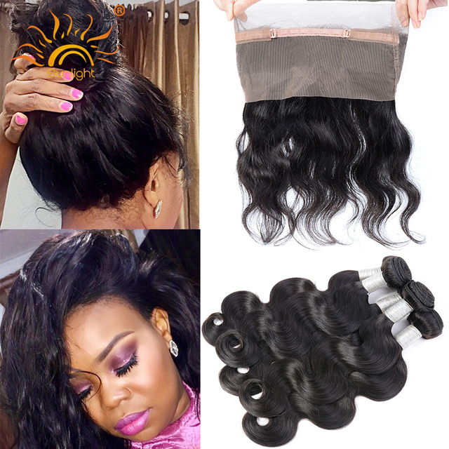 New Pre Plucked 360 Lace Frontal With 2 Bundle Indian Virgin Hair