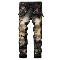 2017 Men Jeans Slim Fit Eagle Wing Embroidered Biker Denim Pants Male Rap Casual Hole Ripped