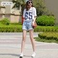 Корейский стиль женщин эластичный хлопок короткие джинсы мода винтаж ripped кисточкой молнии ковбойские брюки джинсовые синий дамы шорты G51