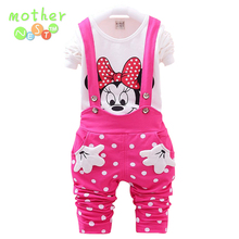 Retail 2017 New Baby Girls Clothing Sets Kids Cotton Cartoon Mickey Minnie Full Sleeve T Shirt+Suspenders Pants Suit 3 colors