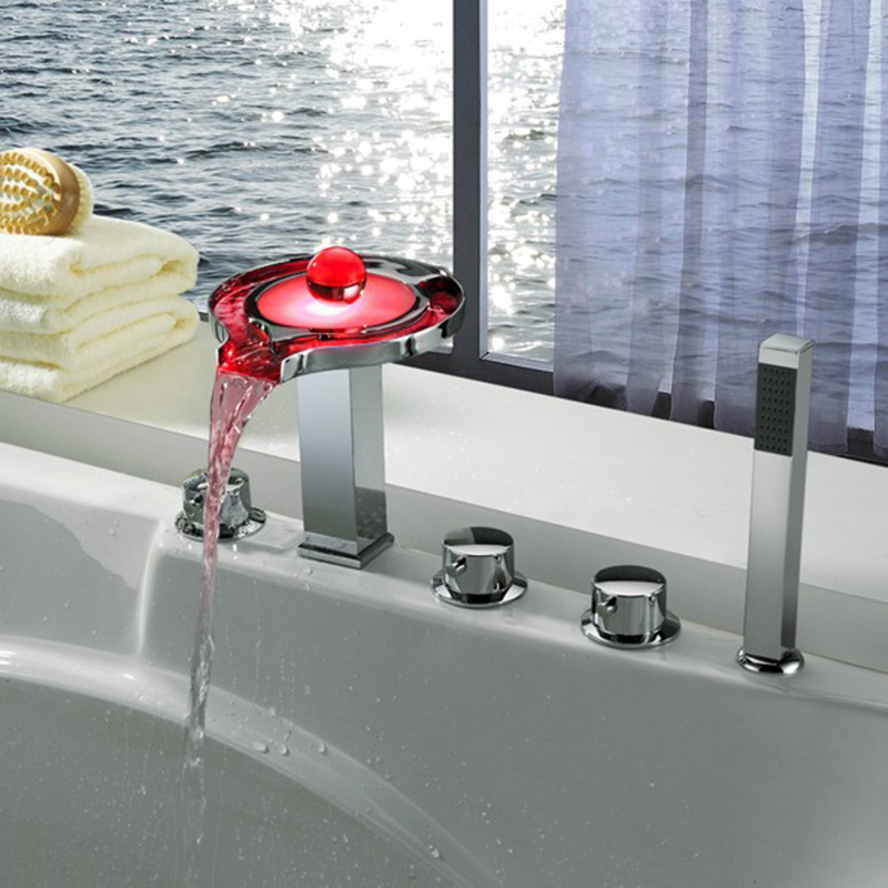 New 5 Holes Deck Mounted LED Waterfall Faucets,Mixers & Taps ...