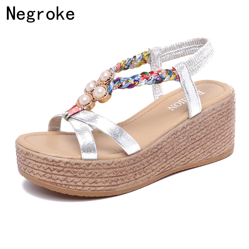 2019 Summer Women Wedges Sandals Sexy Platform Shoes For Women High Heels Cute Pearl Wedge Shoes Sandalias Mujer2019 Summer Women Wedges Sandals Sexy Platform Shoes For Women High Heels Cute Pearl Wedge Shoes Sandalias Mujer