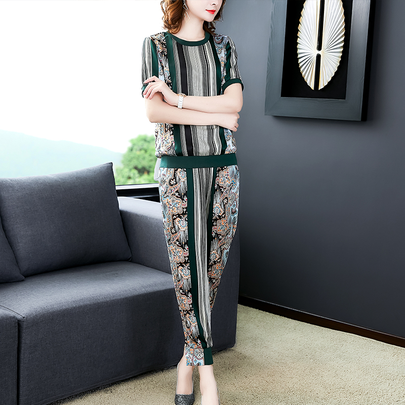 Green Fake Silk 2 Piece Outfits for Women Fashion Striped Festival Clothing Matching Co-ord Sets 2019 Summer Top and Pant Suits