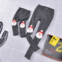 Family Matching Outfits 2017 Winter Christmas Pants Cute Deer Children Clothing Kid Pants Add Wool Warm