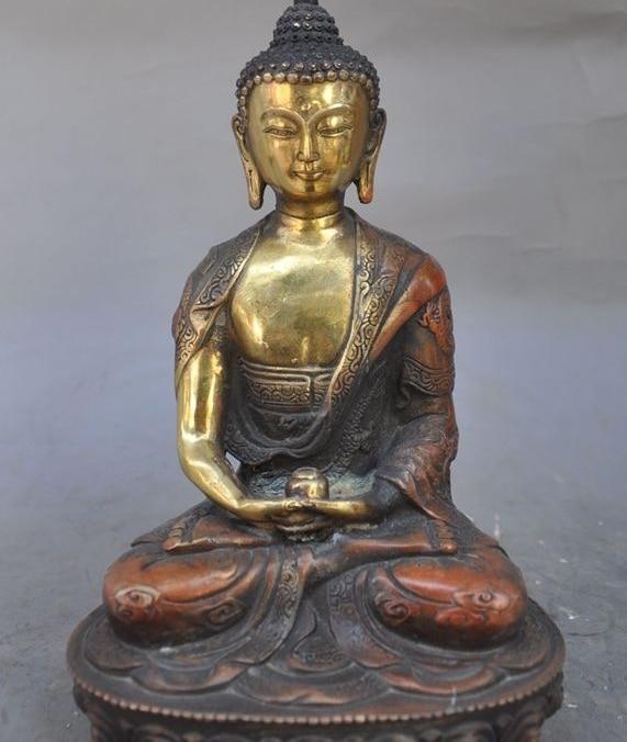 "8""china buddhism temple bronze gilt sakyamuni Medicine Buddha Amitabha statue"