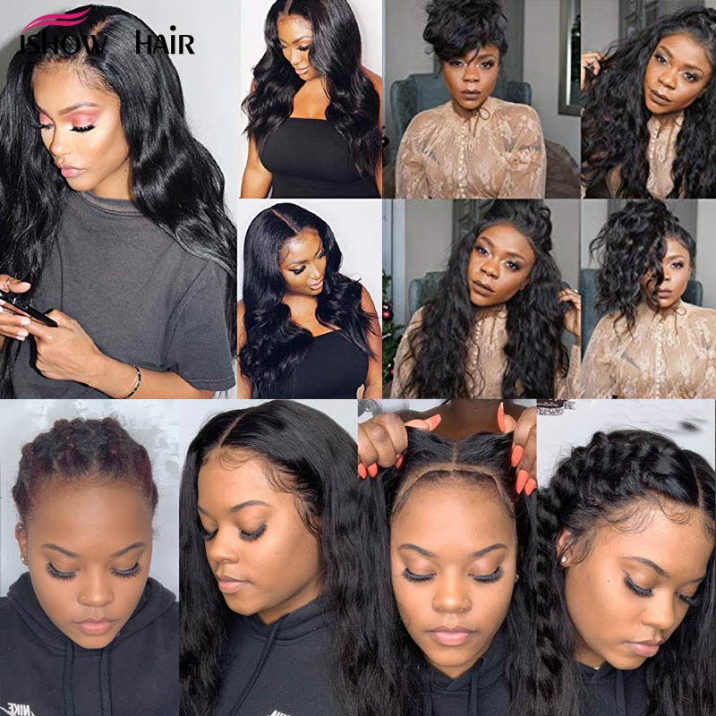 Ishow Body Wave Lace Front Human Hair Wigs For Women Pre Plucked Hairline With Baby Hair Brazilian Remy Human Hair Lace Wigs