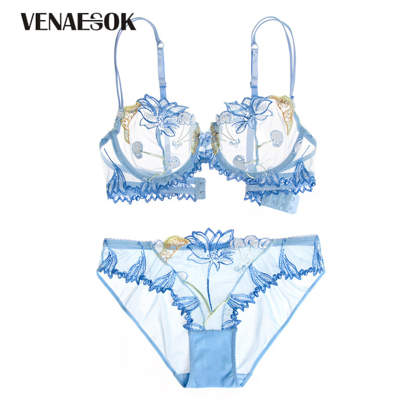 Europe Embroidery Flowers Pink Underwear Set Women Sexy Brassiere Hollow out See Through Bra Lace Blue Transparent Lingerie Set pink bra set