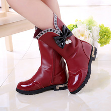 2017 Fashion boots for girls spring and autumn new high help bow leisure students with cotton