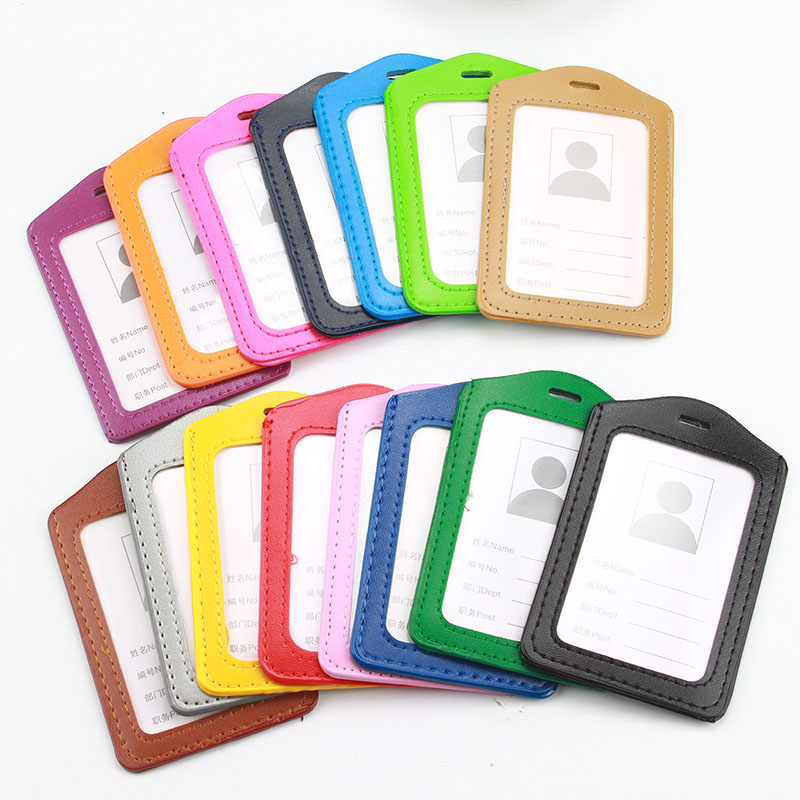 10 Pcs/lot Vertical High Quality PU Leather ID Badge Case Clear And Color Border Bank Credit Card Holders ID Badge Holders