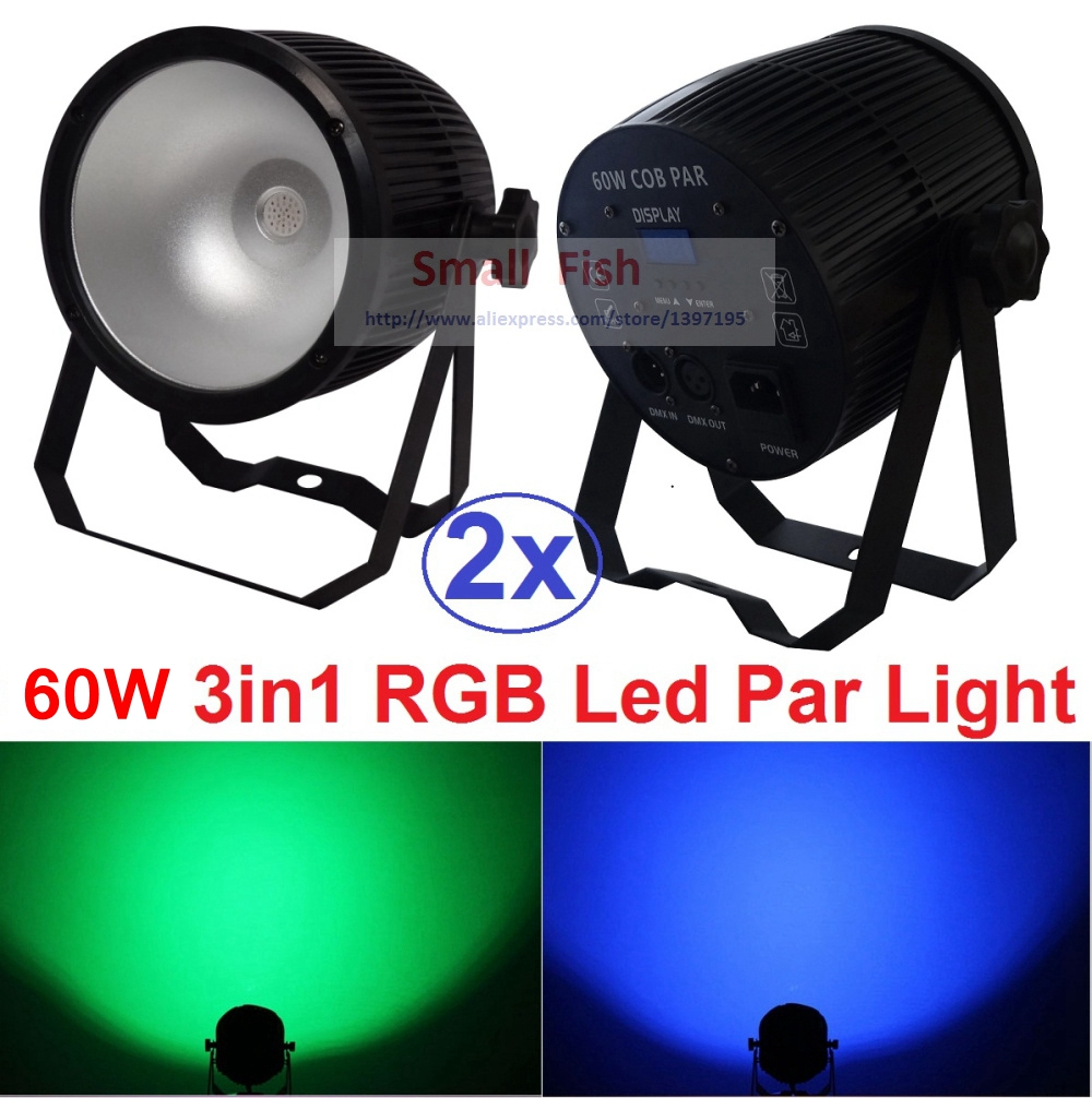 2xLot COB Led Par Light 60W 3IN1 RGB Par Led Can Beam Wash DJ Disco DMX512 Stage Lighting Effect Home Party Equipments for Sale цена
