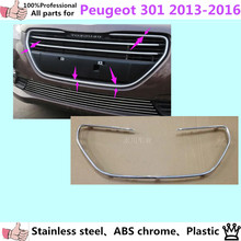car styling cover detector sticker ABS front license grille frame Chrome trim Strips 1pcs for Peuge0t 301 2013 2014 2015 2016
