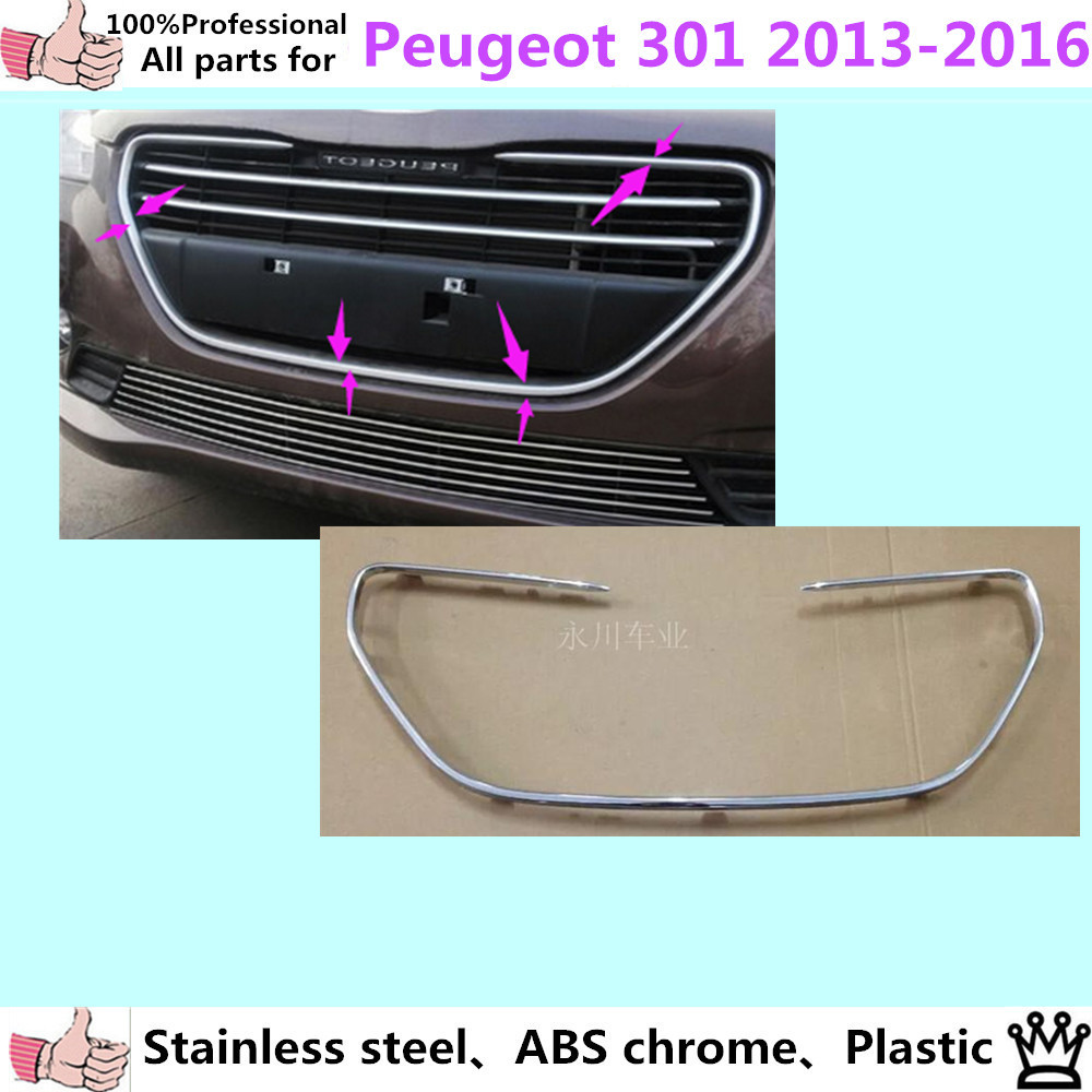 car styling cover detector sticker ABS front license grille frame Chrome trim Strips 1pcs for Peugeot 301 2013 2014 2015 2016 car body cover abs chrome lamp trim head front bottom grid grill grille modling strip frame 1pcs for toyota rav4 2014 2015 2016