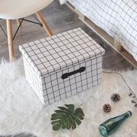 White plaid Folding storage box Oxford Cloth Box for The Storage of Clothes for Underwear Socks Organizer Simple sundries snack